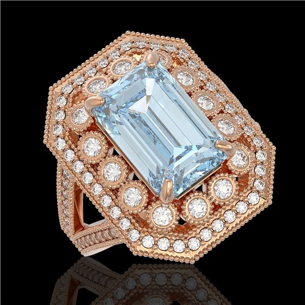 5.69 ctw Certified Aquamarine & Diamond Victorian Ring 14K Rose Gold - REF-170F9M