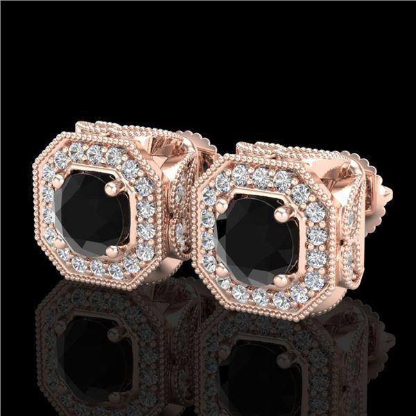 2.75 ctw Fancy Black Diamond Art Deco Stud Earrings 18k Rose Gold - REF-178H2R
