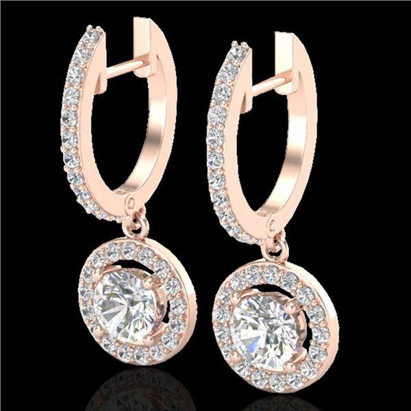 1.75 ctw Micro Pave VS/SI Diamond Certified Earrings 14k Rose Gold - REF-208K8Y