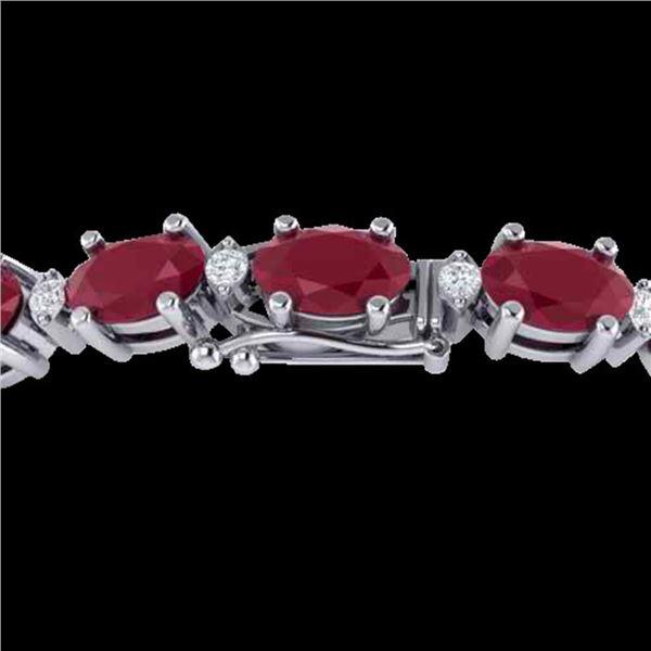 30.8 ctw Ruby & VS/SI Certified Diamond Eternity Bracelet 10k White Gold - REF-245X5A