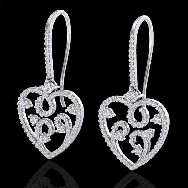 2.50 ctw VS/SI Diamond Micro Pave Designer Earrings 14k White Gold - REF-227F3M