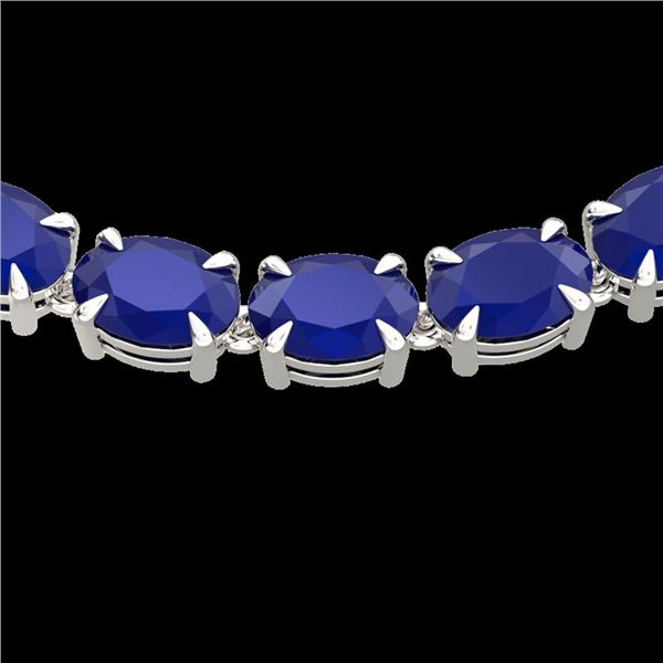 68 ctw Sapphire Eternity Designer Necklace 14k White Gold - REF-309X3A
