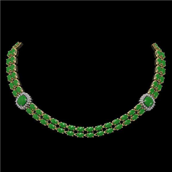 29.39 ctw Jade & Diamond Necklace 14K Yellow Gold - REF-527H3R