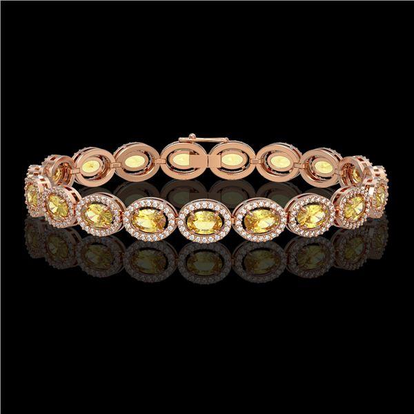 12.73 ctw Fancy Citrine & Diamond Micro Pave Halo Bracelet 10k Rose Gold - REF-263F6M