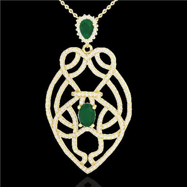 3.50 ctw Emerald & Micro VS/SI Diamond Heart Necklace 14k Yellow Gold - REF-179A6N