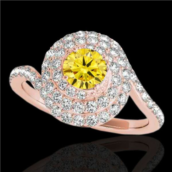 1.86 ctw Certified SI/I Fancy Intense Yellow Diamond Ring 10k Rose Gold - REF-184A3N