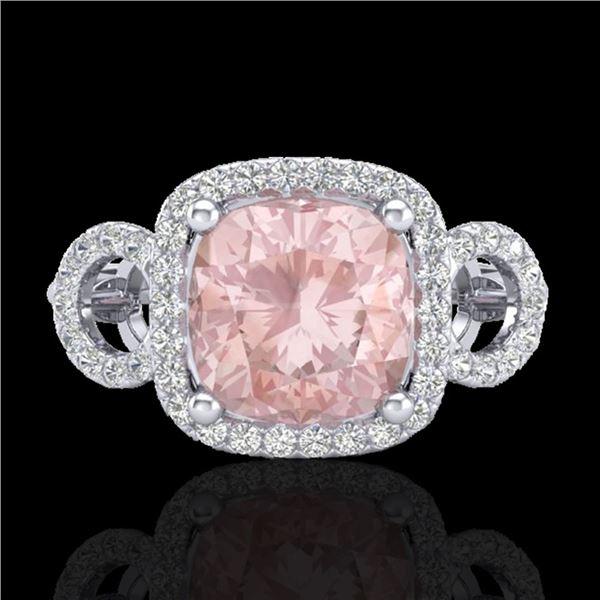 2.75 ctw Morganite & Micro VS/SI Diamond Certified Ring 18k White Gold - REF-83A3N