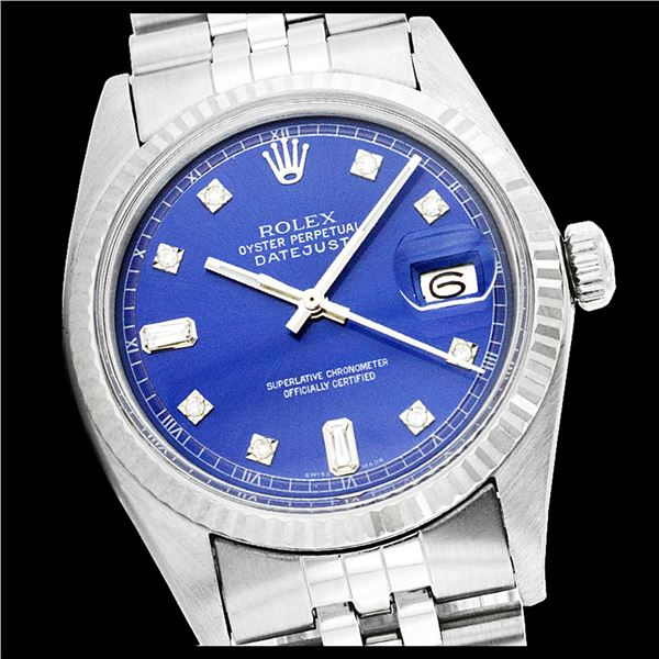 Rolex Ladies Stainless Steel, Diamond Dial with Fluted Bezel, Sapphire Crystal