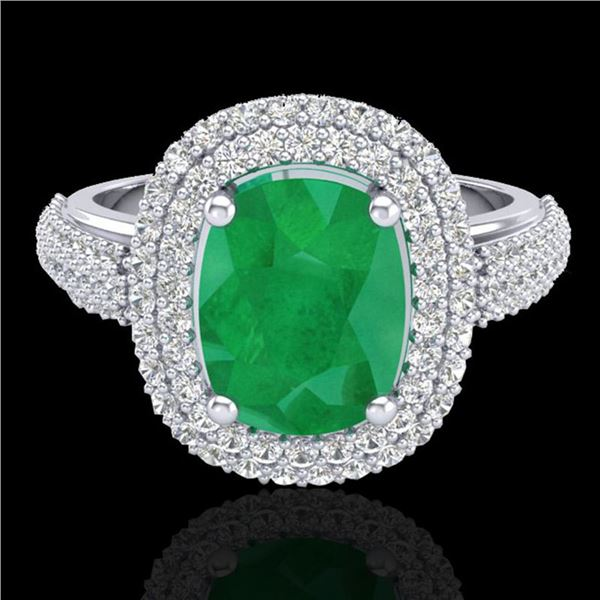 3.50 ctw Emerald & Micro Pave VS/SI Diamond Ring 18k White Gold - REF-143H6R