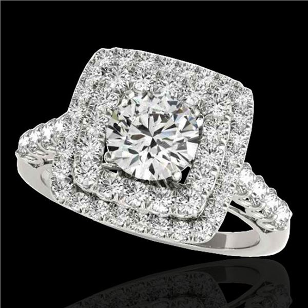 2.05 ctw Certified Diamond Solitaire Halo Ring 10k White Gold - REF-204H5R