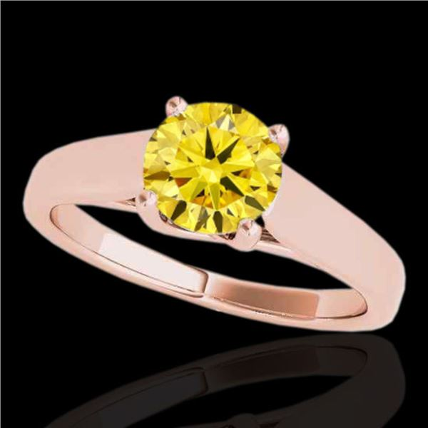 1 ctw Certified SI/I Fancy Intense Yellow Diamond Ring 10k Rose Gold - REF-182K8Y