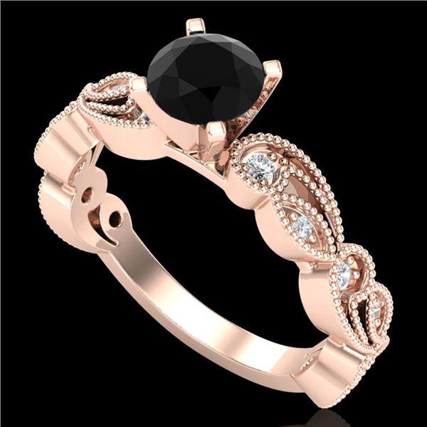 1.01 ctw Fancy Black Diamond Engagment Art Deco Ring 18k Rose Gold - REF-87A3N
