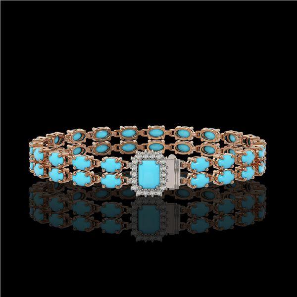 13.04 ctw Turquoise & Diamond Bracelet 14K Rose Gold - REF-236A4N