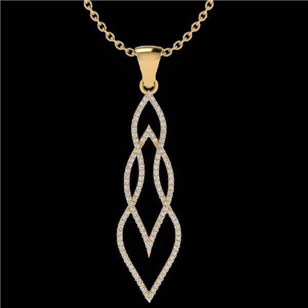 0.80 ctw Micro Pave VS/SI Diamond Certified Necklace 14k Yellow Gold - REF-78R2K