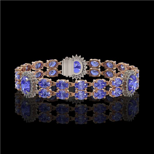 17.83 ctw Tanzanite & Diamond Bracelet 14K Rose Gold - REF-280F2M
