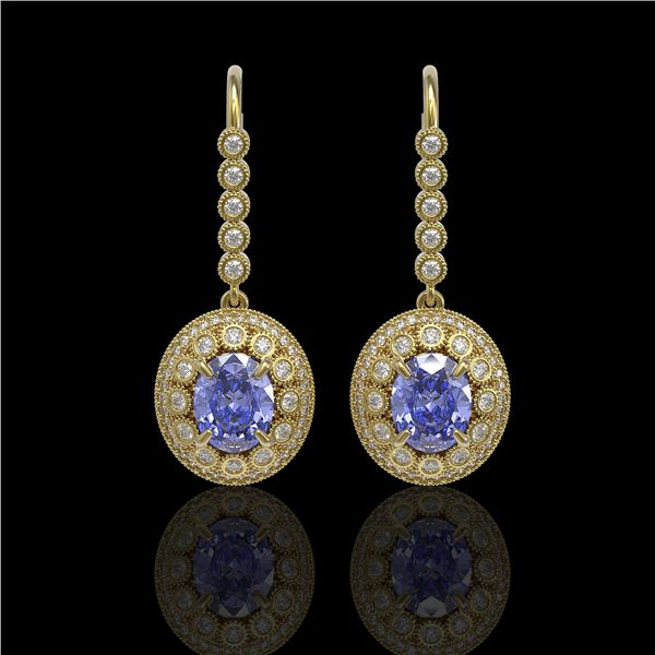 9.47 ctw Tanzanite & Diamond Victorian Earrings 14K Yellow Gold - REF-315X6A