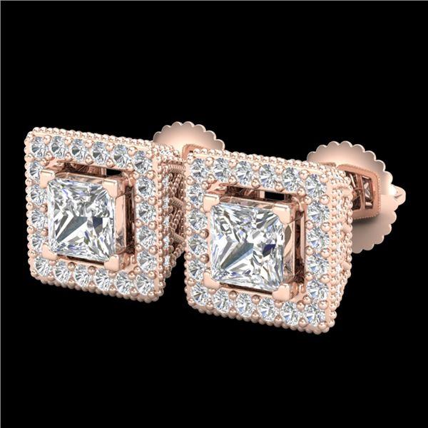 2.25 ctw Princess VS/SI Diamond Micro Pave Stud Earrings 18k Rose Gold - REF-272R8K