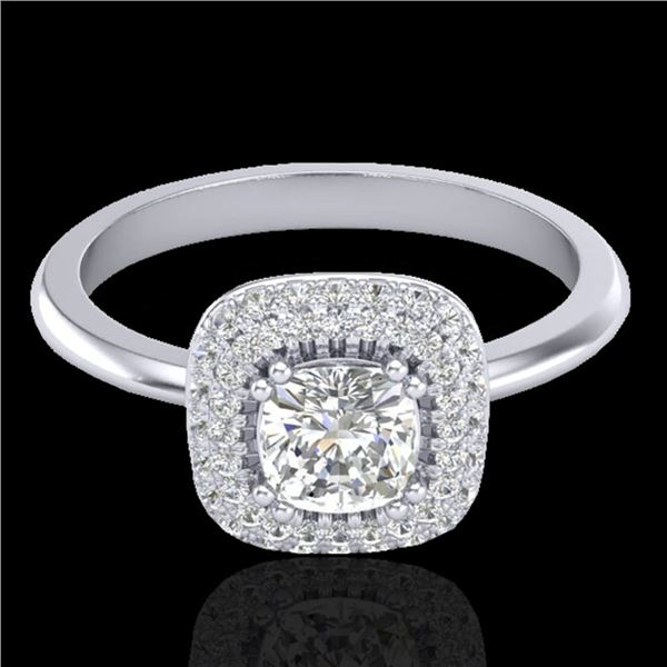 1.16 ctw Micro SI Cushion Diamond Engagment Ring Halo 18k White Gold - REF-149F5M