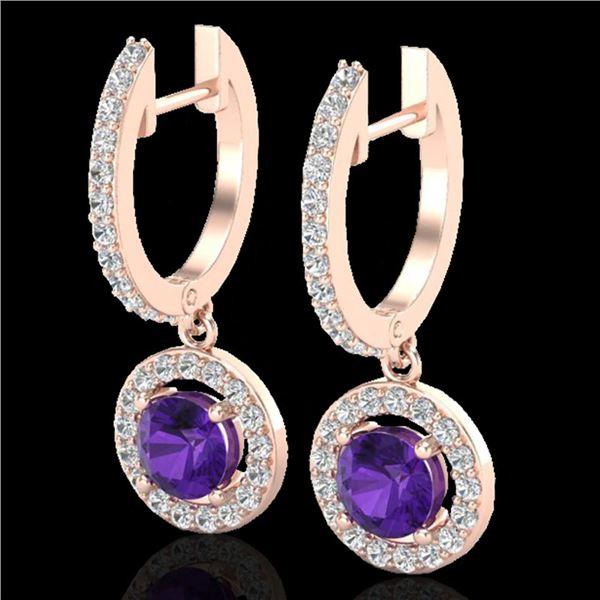 1.75 ctw Amethyst & Micro Pave VS/SI Diamond Earrings 14k Rose Gold - REF-76H4R