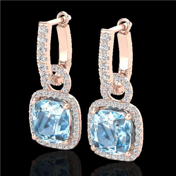 7 ctw Sky Blue Topaz & Micro Pave VS/SI Diamond Earrings 14k Rose Gold - REF-98Y2X