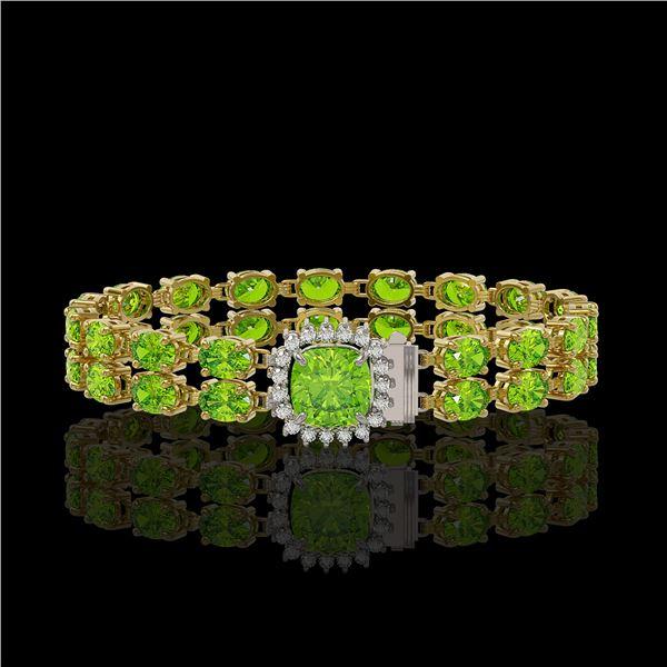 17.4 ctw Peridot & Diamond Bracelet 14K Yellow Gold - REF-245H5R