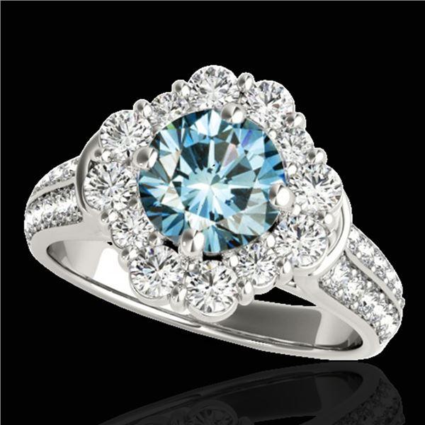 2.16 ctw SI Certified Fancy Blue Diamond Halo Ring 10k White Gold - REF-166X4A