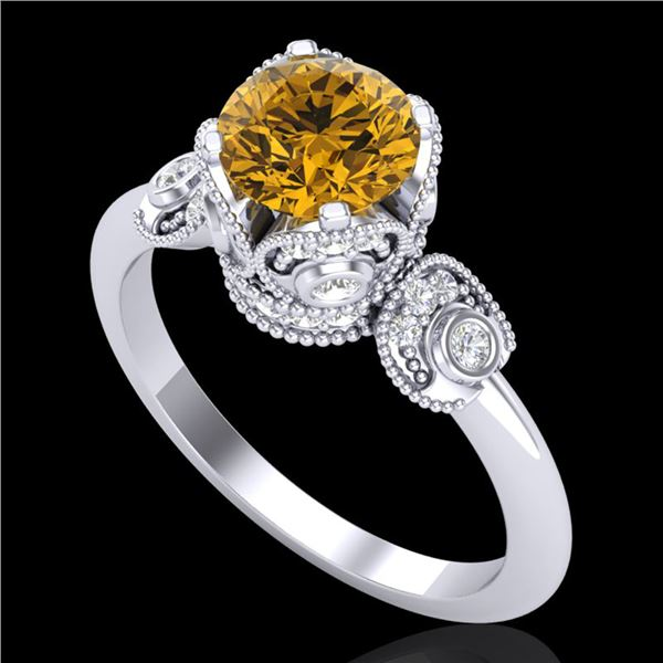 1.75 ctw Intense Fancy Yellow Diamond Art Deco Ring 18k White Gold - REF-236G4W