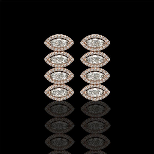 5.33 ctw Marquise Cut Diamond Micro Pave Earrings 18K Rose Gold - REF-739A6N