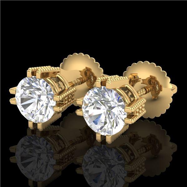 1.07 ctw VS/SI Diamond Solitaire Art Deco Stud Earrings 18k Yellow Gold - REF-200R2K