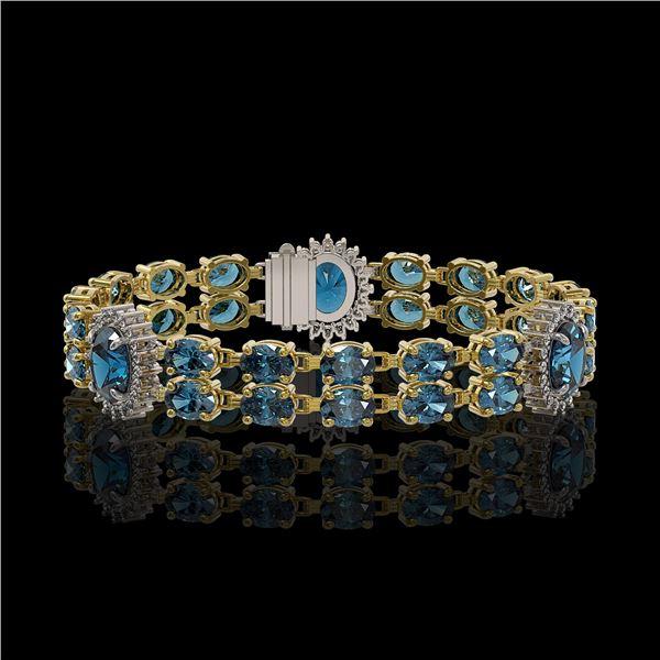 19.3 ctw London Topaz & Diamond Bracelet 14K Yellow Gold - REF-254A5N