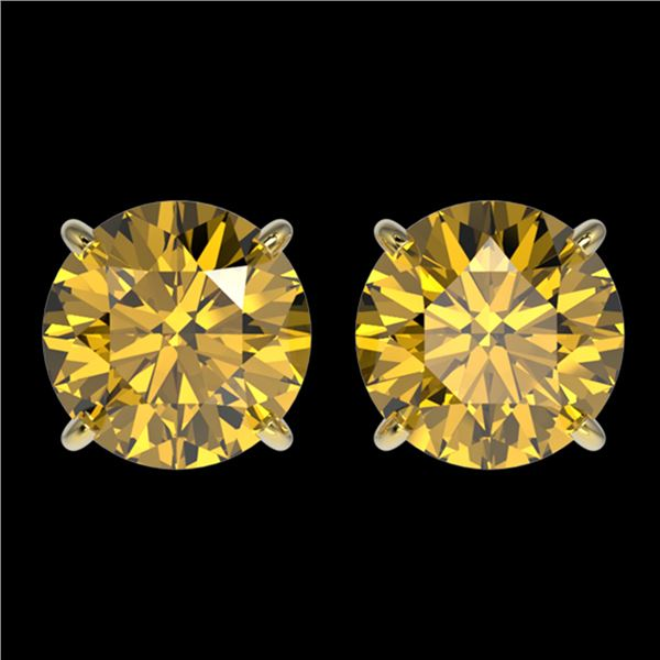 3 ctw Certified Intense Yellow Diamond Stud Earrings 10k Yellow Gold - REF-527W8H