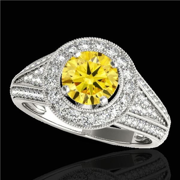2.17 ctw Certified SI/I Fancy Intense Yellow Diamond Ring 10k White Gold - REF-340G9W