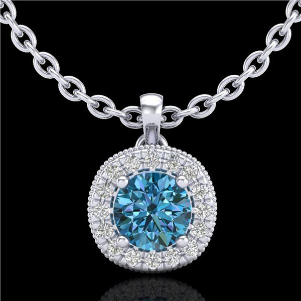 1.1 ctw Fancy Intense Blue Diamond Art Deco Necklace 18k White Gold - REF-136R4K