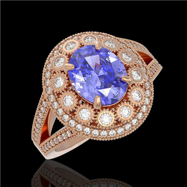 4.76 ctw Certified Tanzanite & Diamond Victorian Ring 14K Rose Gold - REF-178M5G