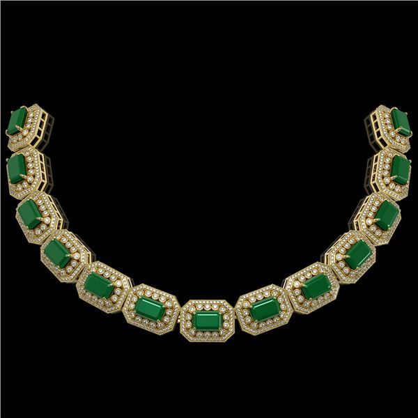 137.65 ctw Emerald & Diamond Victorian Necklace 14K Yellow Gold - REF-3181K8Y