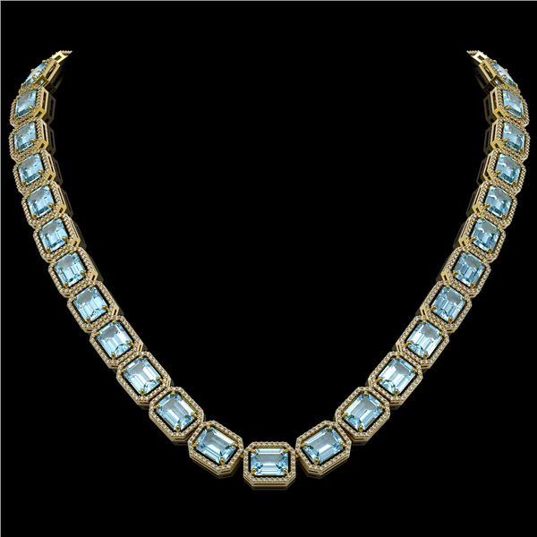 80.98 ctw Aquamarine & Diamond Micro Pave Halo Necklace 10k Yellow Gold - REF-1317G3W