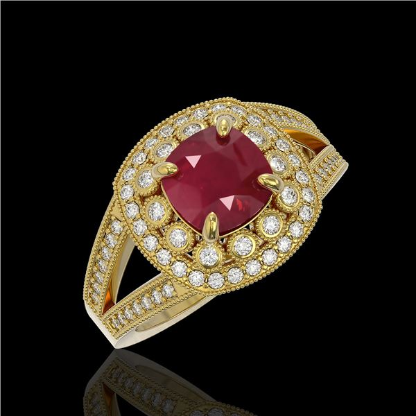 2.69 ctw Certified Ruby & Diamond Victorian Ring 14K Yellow Gold - REF-103K3Y