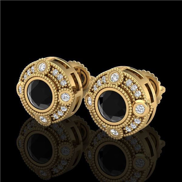 1.5 ctw Fancy Black Diamond Art Deco Stud Earrings 18k Yellow Gold - REF-113R6K