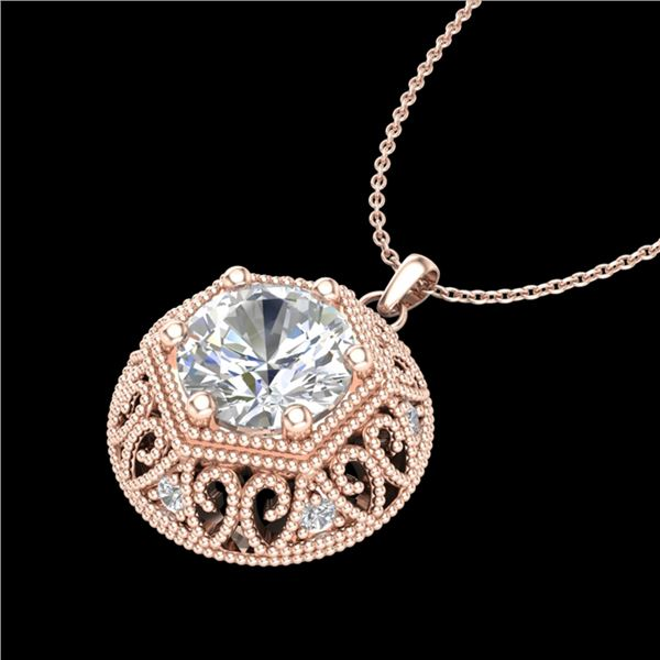 1.11 ctw VS/SI Diamond Solitaire Art Deco Stud Necklace 18k Rose Gold - REF-285N2F