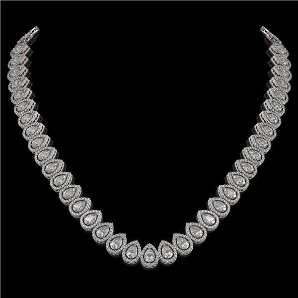 34.83 ctw Pear Cut Diamond Micro Pave Necklace 18K White Gold - REF-4761F8M