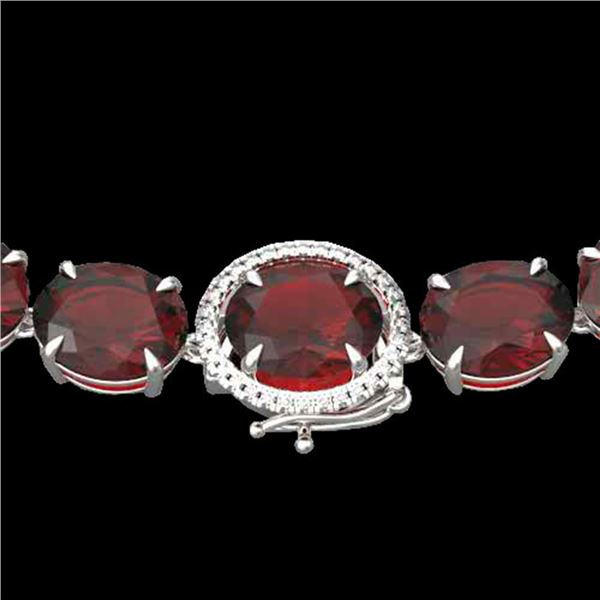 145 ctw Garnet & VS/SI Diamond Halo Micro Necklace 14k White Gold - REF-455Y6X