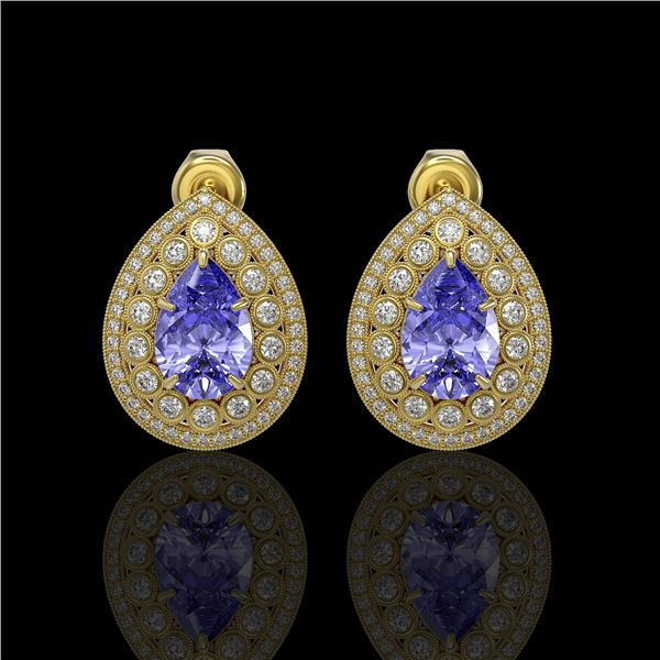 8.54 ctw Tanzanite & Diamond Victorian Earrings 14K Yellow Gold - REF-436R4K