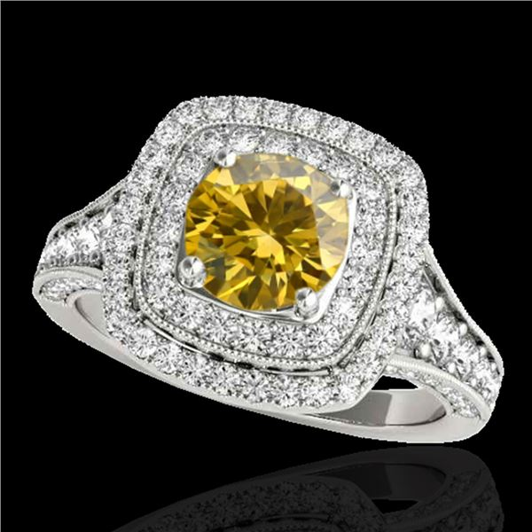 2 ctw Certified SI/I Fancy Intense Yellow Diamond Halo Ring 10k White Gold - REF-231G8W