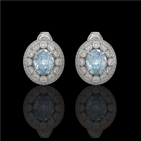 7.24 ctw Aquamarine & Diamond Victorian Earrings 14K White Gold - REF-221Y6X