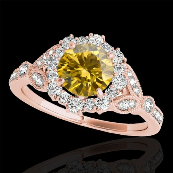 1.5 ctw Certified SI/I Fancy Intense Yellow Diamond Ring 10k Rose Gold - REF-190N9F