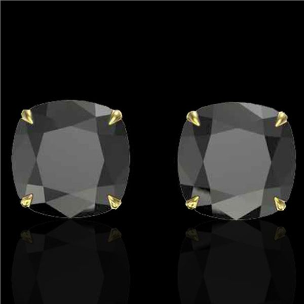 12 ctw Cushion Black Diamond Designer Earrings 18k Yellow Gold - REF-290A9N