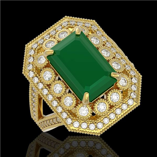 7.11 ctw Certified Emerald & Diamond Victorian Ring 14K Yellow Gold - REF-178K2Y