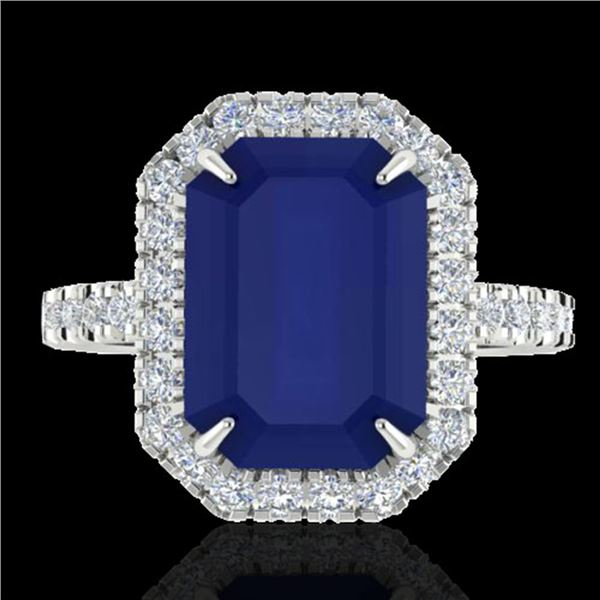 5.33 ctw Sapphire & Micro Pave VS/SI Diamond Ring 18k White Gold - REF-77R3K