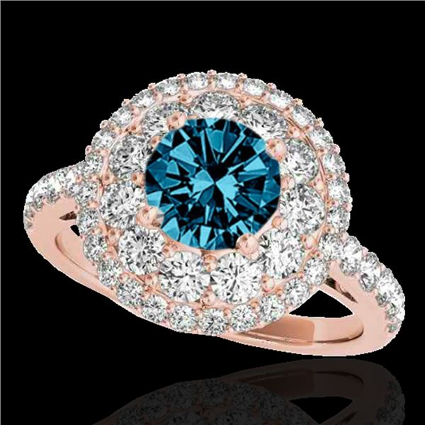 2.09 ctw SI Certified Fancy Blue Diamond Halo Ring 10k Rose Gold - REF-165R2K