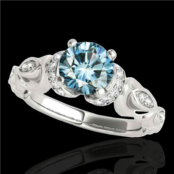 1.2 ctw SI Certified Fancy Blue Diamond Antique Ring 10k White Gold - REF-121R4K